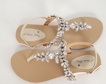 c2b7cc3f11ec6 Ivory Wedding Sandals with Sparkling Gems Bridal Sandals Destination  Wedding Sandals Beach Wedding Sandals Beach Wedding Shoes
