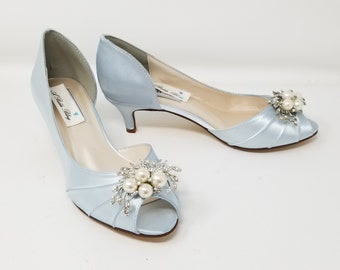 Baby Blue Wedding Shoes Crystal Square