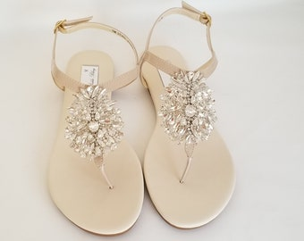 db1288a85 Ivory Wedding Sandals Nude Bridal Sandals Ivory Bridal Sandals with Crystal  Applique Beach Wedding Sandals Beach Wedding Shoes Vegan Sandals
