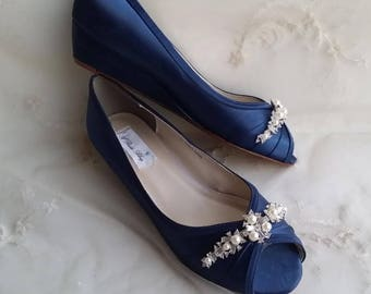 9edc34025d98 Blue Wedding Shoes Blue Bridal Wedges with Pearl and Crystal Brooch -  Dyeable Shoes Pick Your color Bridesmaid Shoes