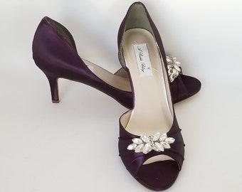 Bridal Shoes Purple Wedding Shoes Eggplant Bridal Shoes Crystal Applique -  100 Color Choices Eggplant Wedding Shoes Purple Bridal Shoes c1c28f0af3d4