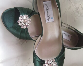 7fb507561cf58 Green Wedding Shoes Hunter Green Bridal Shoes Crystal Flower Swirl -100  Additional Colors To Pick From