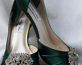 72896b4dafd3 Green Wedding Shoes Hunter Green Bridal Shoes with Vintage Style Rectangle  Brooch -100 Additional Colors To Pick From