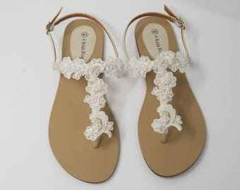6c188e4ad Ivory Wedding Sandals with Lace and Pearls Ivory Wedding Shoes Destination Wedding  Sandals Beach Wedding Sandals Vegan Sandals