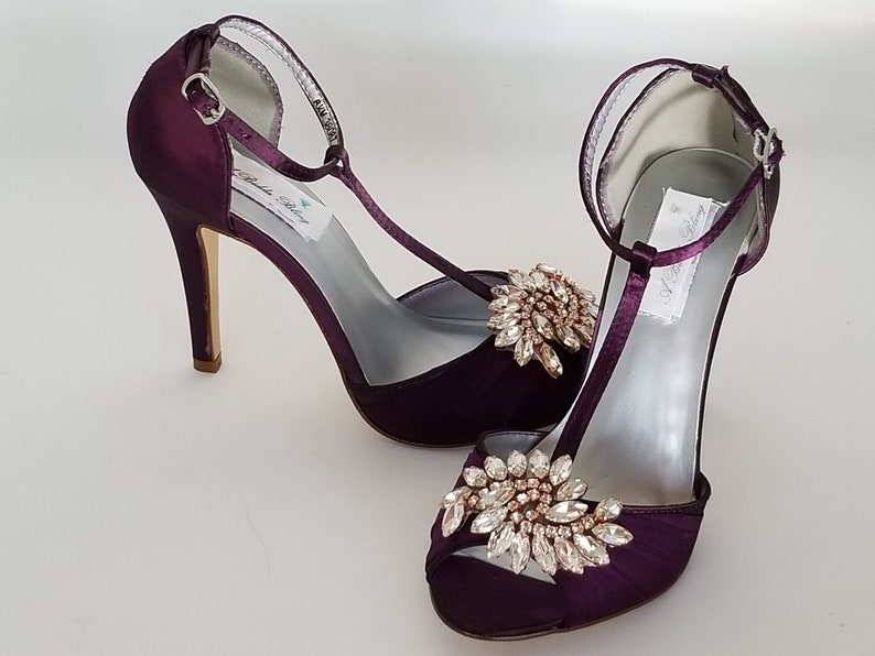 5e9ae5b0a087 Eggplant Purple Bridal Shoes with Rose Gold Crystal Applique
