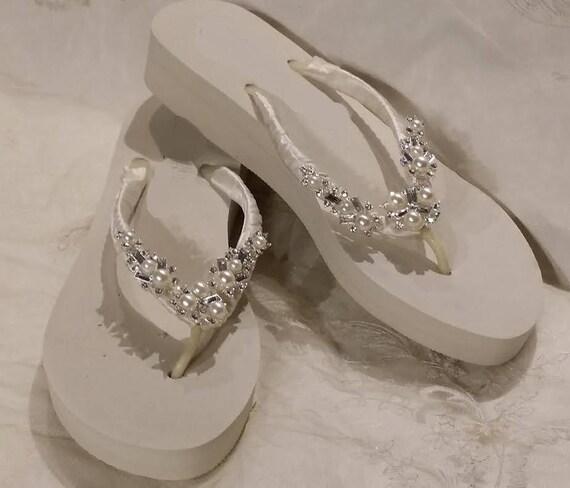 1b2818551cd Sparkling Low Ivory Bridal Flip Flops White Flip Flops with