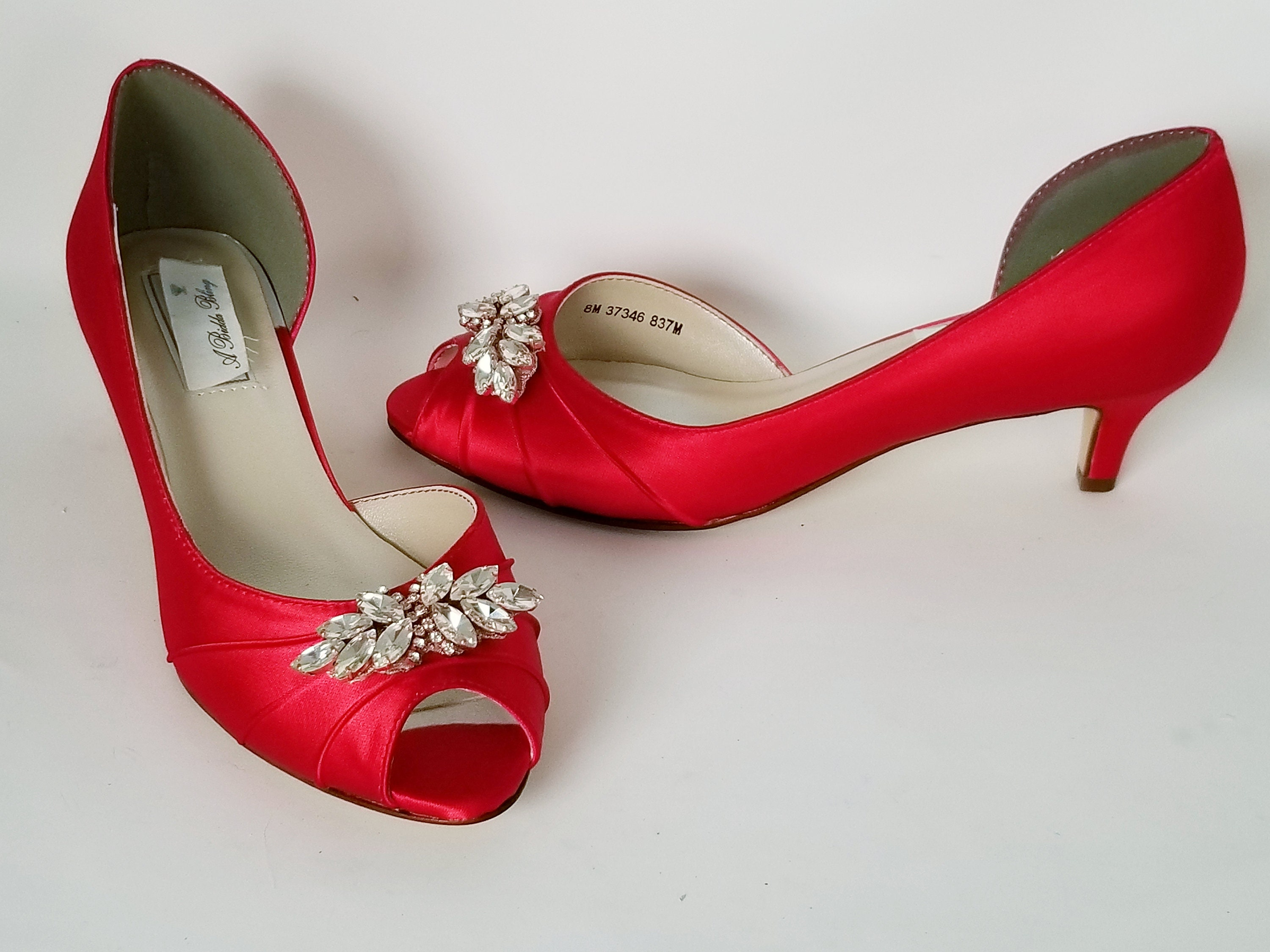 Red Wedding Shoes Sparkling Crystal and Rose Gold Small Applique Red Bridal Shoes Red Bridesmaid Shoes PICK FROM 100 COLORS