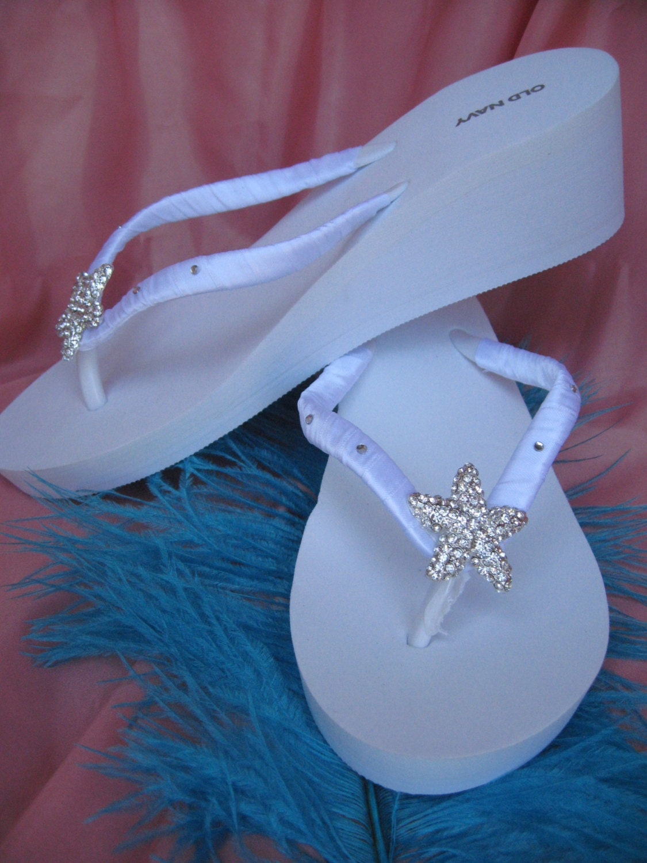 6bf926394 SALE White Flip Flops or Ivory Flip Flops Sandals with
