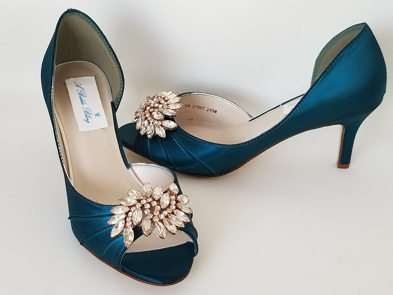 3a67f3ef85e20 Teal Wedding Shoes Teal Bridal Shoes with Rose Gold Applique -100  Additional Colors To Pick From Rose Gold Wedding Shoes