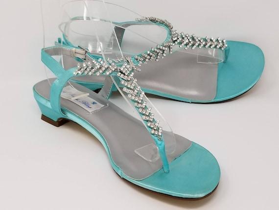 Aqua Blue Wedding Shoes Aqua Blue Wedding Sandals Bridal | Etsy