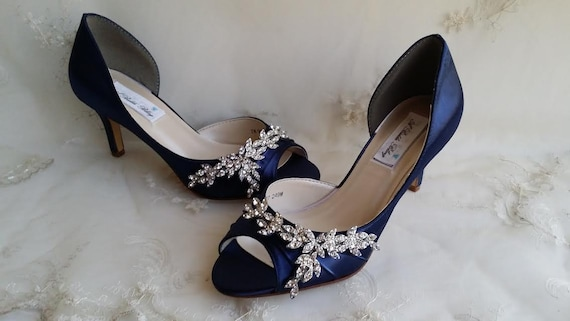 8673b2cde46e Blue Wedding Shoes Blue Bridal Shoes with Imported Crystal