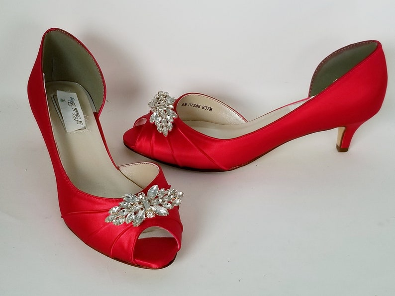 cd3e00714d2 Red Wedding Shoes Rose Gold Brooch Red Bridal Shoes Red Bridesmaid Shoes  PICK FROM 100 COLORS Bridesmaid Shoes