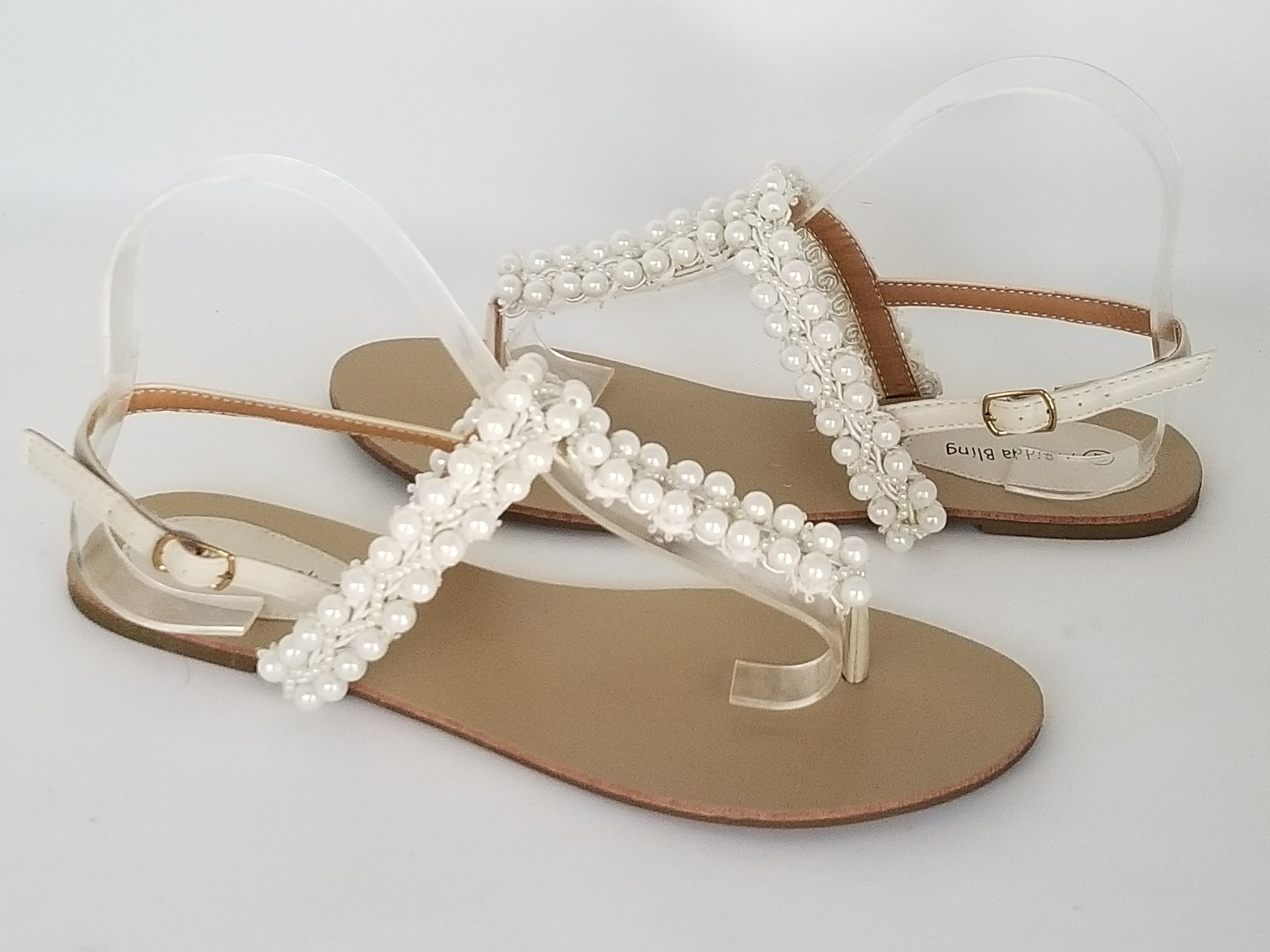 Ivory Bridal Sandals Ivory Wedding Sandals with Pearls