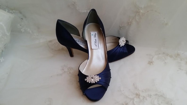 eef0c9f0b2a Navy Blue Wedding Shoes Crystal Brooch Navy Blue Bridal Shoes Blue Wedding  Shoes Navy Wedding Shoes OVER 100 COLORS Navy Bridesmaid Shoes