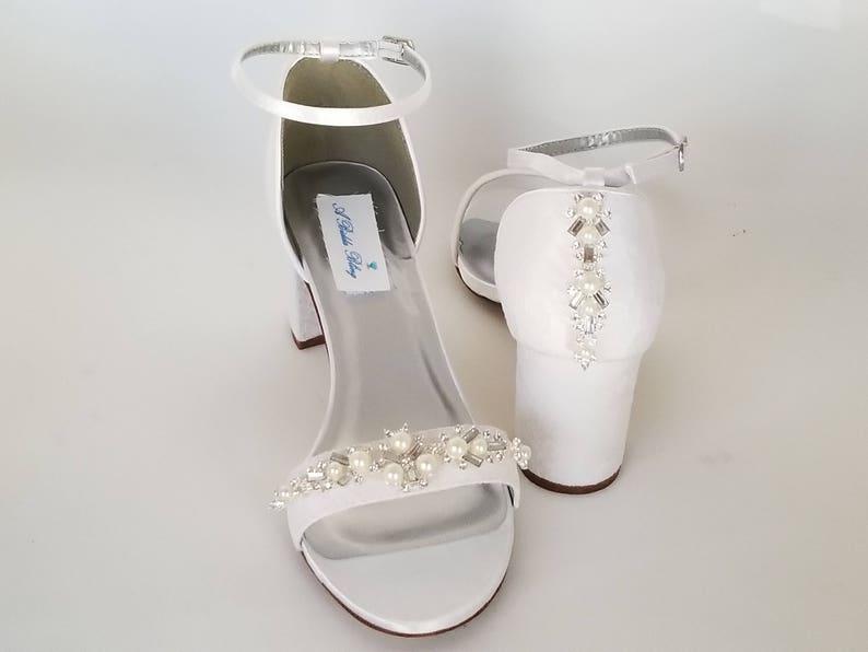 d13384de57c Ivory Wedding Shoes White Wedding Shoes Chunky Heels Ivory