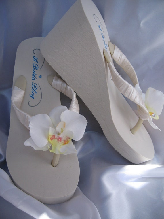8c59477001ca Ivory Wedge Flip Flops Sandals Ivory Bridal Flip Flops Shoes