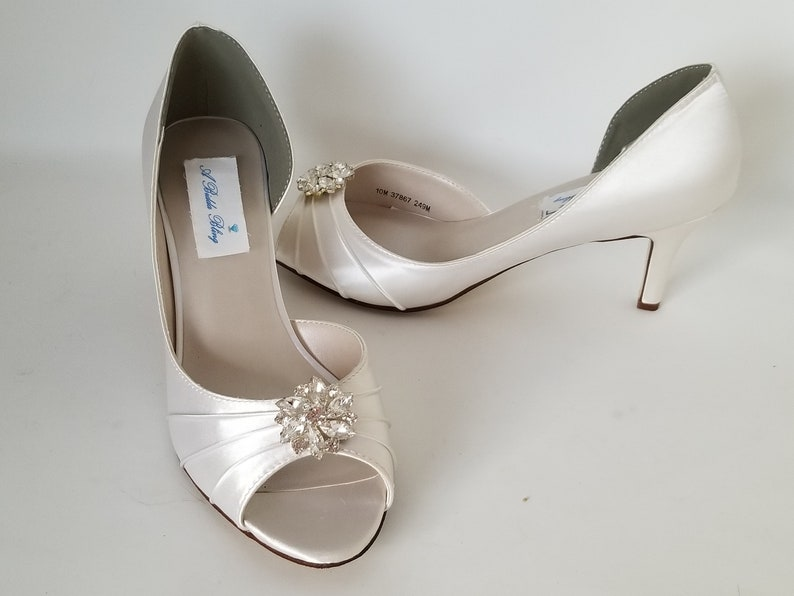 5cab8d2803f Ivory Wedding Shoes with Crystal Swirl Brooch Ivory Bridal Shoes White  Bridal Shoes - Over 100 Color Choices to Pick From