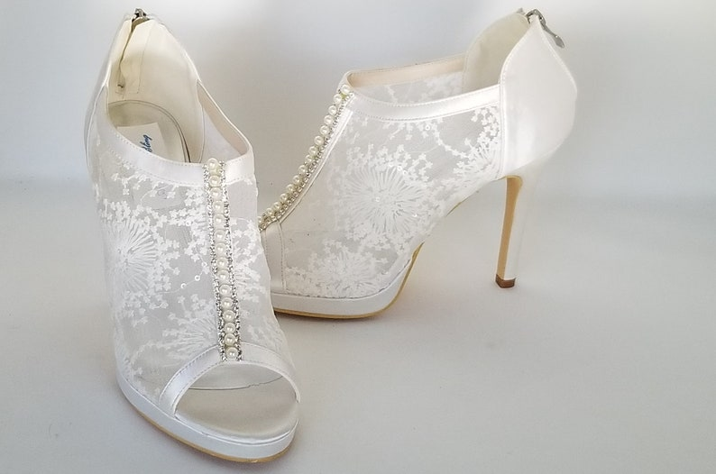 Lace Wedding Shoes.Lace Wedding Shoes With Pearl And Crystal Accent Lace Bridal Shoes Lace Booties Shoes Lace Pumps Ivory Wedding Shoes Ivory Bridal Shoes
