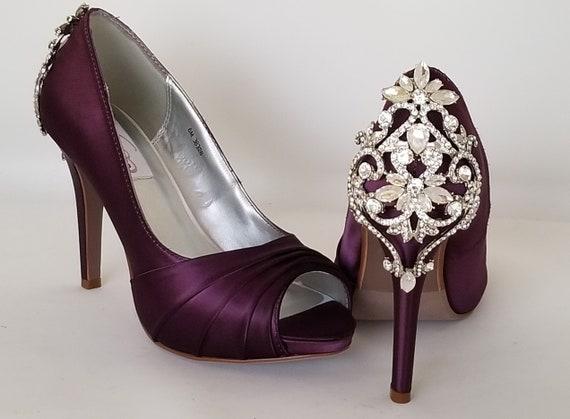 Eggplant Purple Wedding Shoes Crystal Back Design Eggplant Etsy
