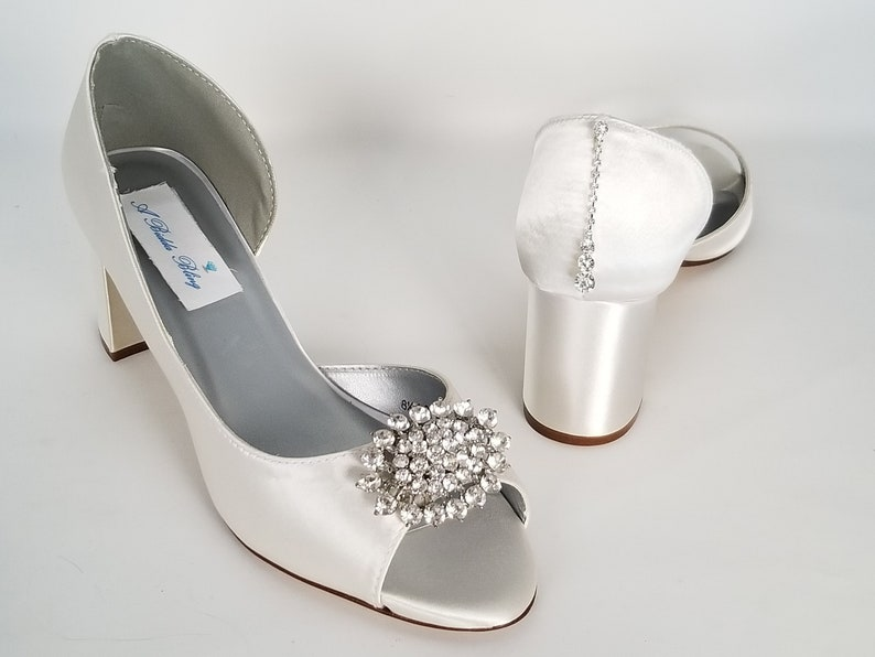 daea89e2464 Ivory Bridal Shoes Block Heel Crystal Oval Front and Teardrop