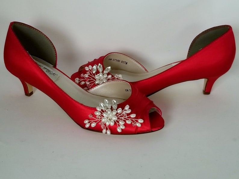 abcf67df205 Red Wedding Shoes Crystal and Pearl Flower Design Red Bridal Shoes Red  Bridesmaid Shoes PICK FROM 100 COLORS
