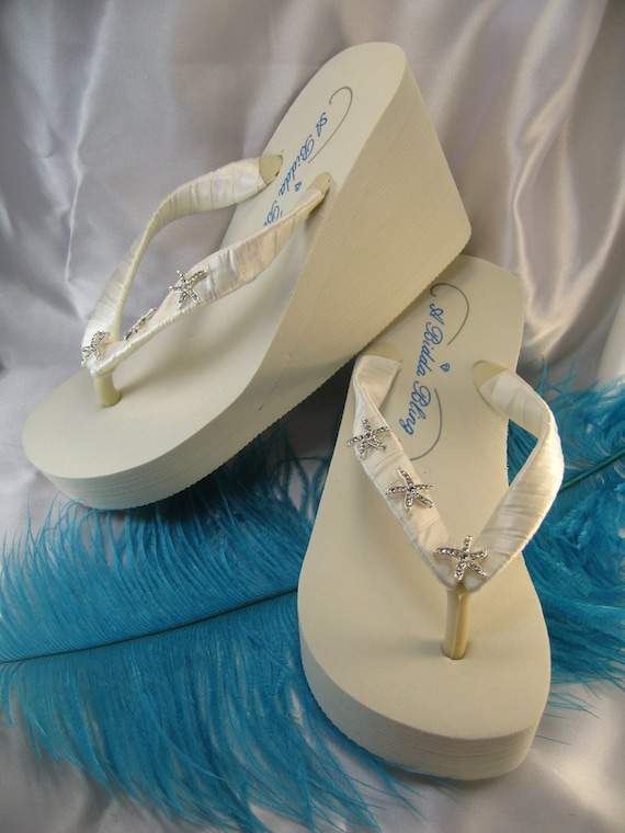 31a9a6c0c0a7 SALE Ivory Wedge Flip Flops Rhinestone Starfish Flip Flops for