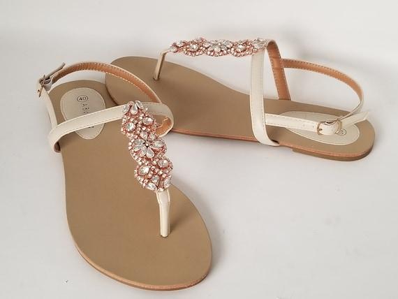 Ivory Wedding Sandals Rose Gold Bridal