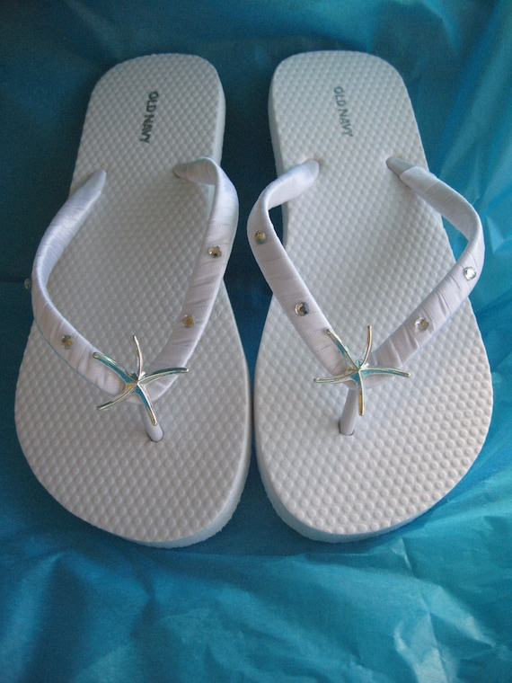 db71be5bac78b SALE Ivory Flip Flops White Flip Flops Starfish and