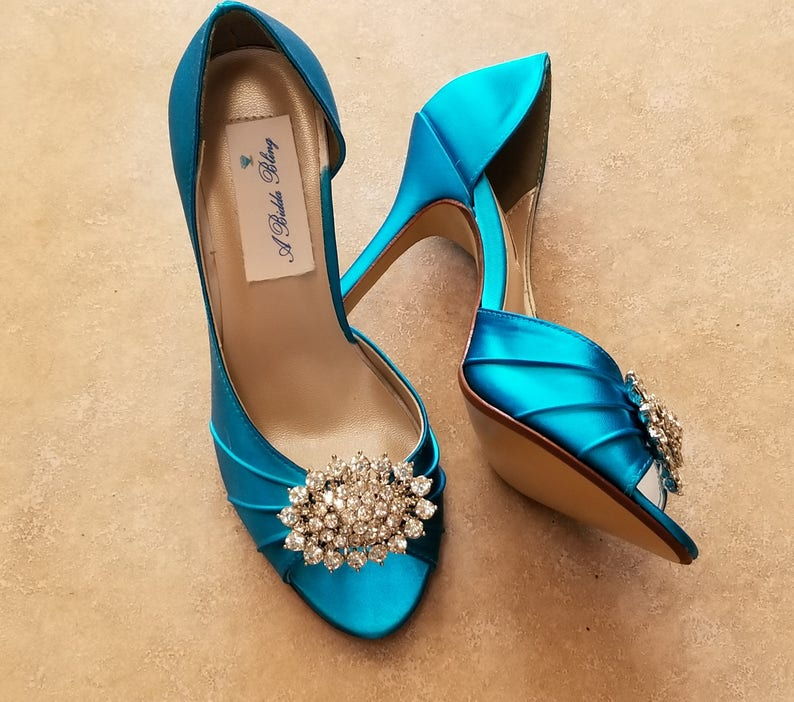 Turquoise Wedding Shoes Crystal Oval Turquoise Bridal Shoes  6c2d6d4db
