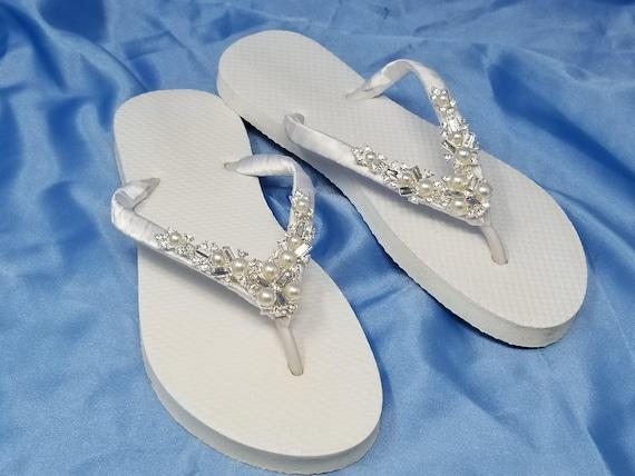 Sparkling Low Ivory Bridal Flip Flops White Flip Flops with Pearls and Rhinestones Bridal Flip Flops Beach Wedding Sandals Bridal Sandals