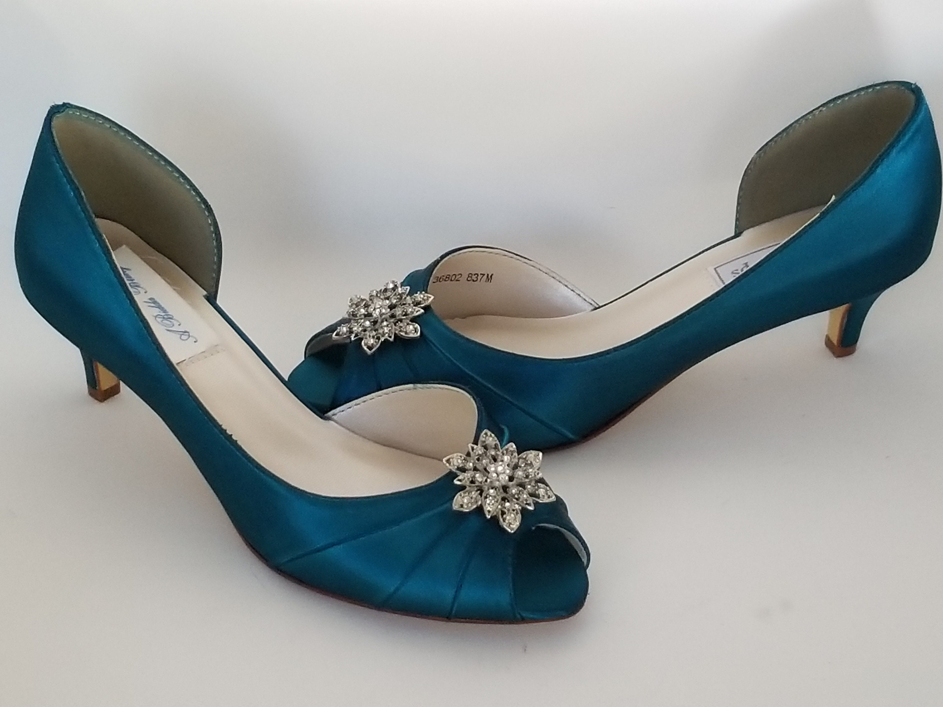 46c9a8a0e7936 Teal Wedding Shoes with Vintage Style Flower Teal Bridal Shoes Teal  Bridesmaid Shoes PICK FROM 100 COLORS Different Heel Heights