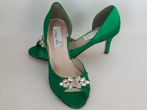 Emerald Green Wedding Shoes Crystal
