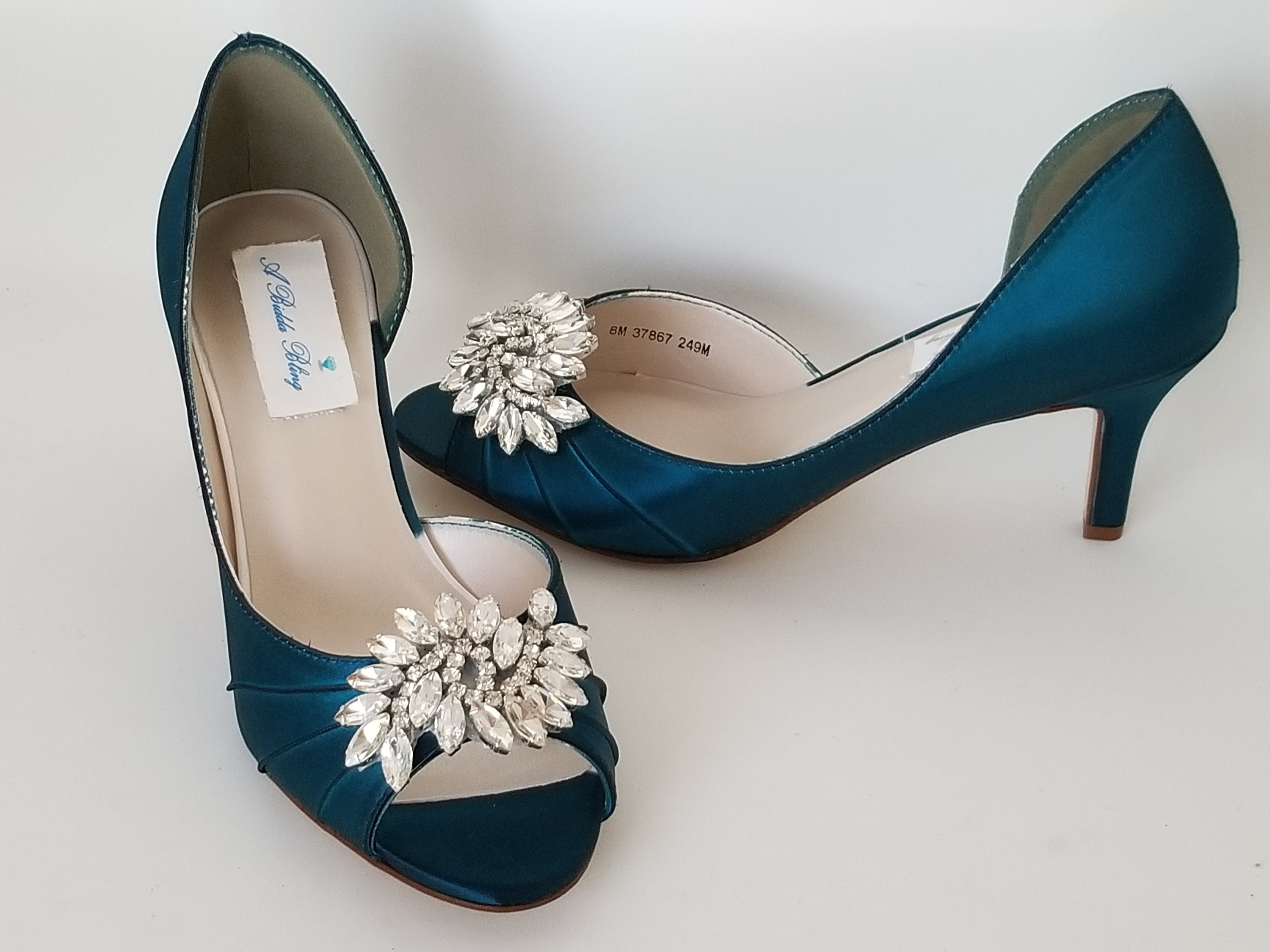 4b5048277d7 Teal Wedding Shoes Teal Bridal Shoes with Crystal Applique -100 Additional  Colors To Pick From Rose Gold Wedding Shoes
