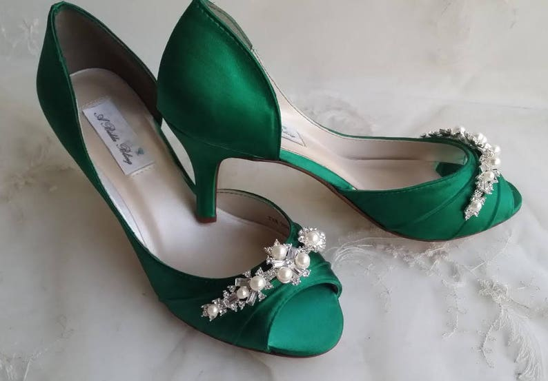 Emerald Green Bridal Shoes Emerald Green Wedding Shoes with Pearls and Crystals or PICK FROM 100 COLORS Bridesmaid Shoes