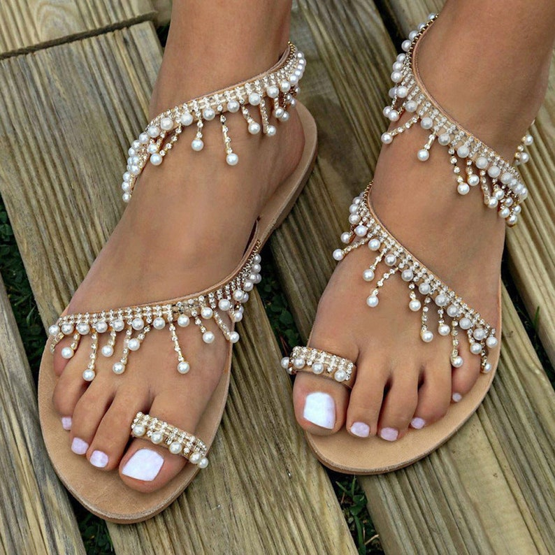 4000554b6676 Wedding Sandals Bridal Sandals with Pearls and Crystals