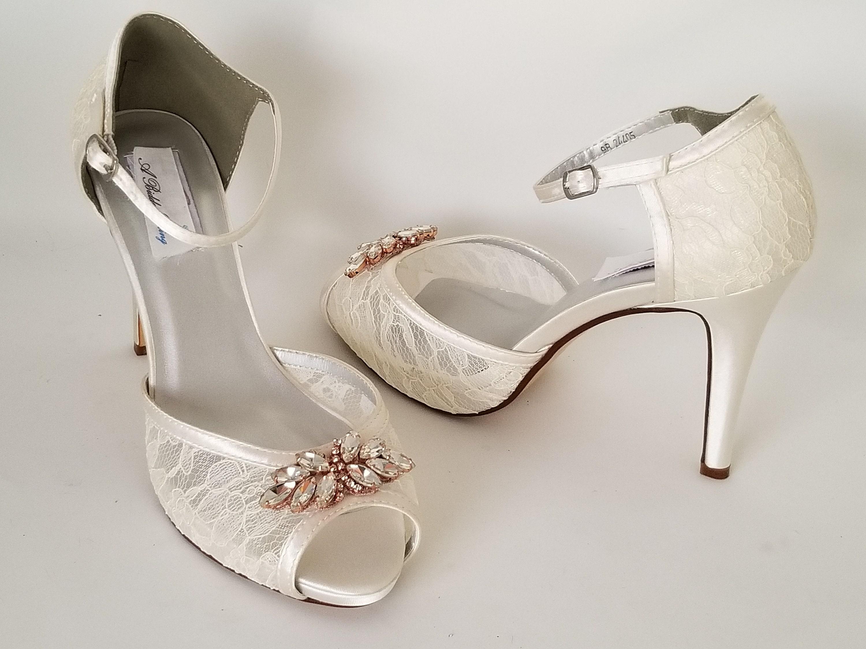 Ivory Lace Wedding Shoes Rose Gold Mini