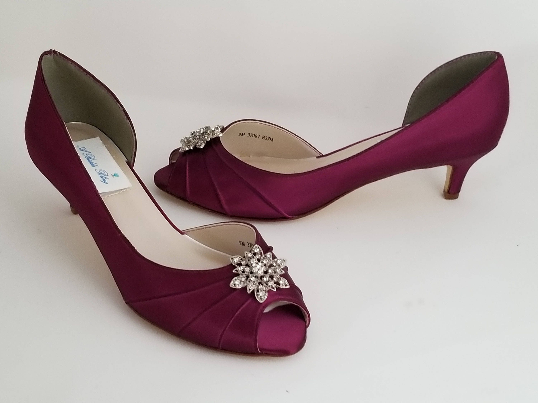 Burgundy Wedding Shoes Vintage Flower Burgundy Bridal Shoes Burgundy Kitten Heels Over 100 Custom Color Choices Burgundy Bridesmaid Shoes