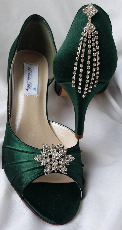 Vert de chasseur de mariée chaussures de mariage mariée de chaussures avec broche fleur Style Vintage et en cascade cristal dos-100 couleurs suppléHommes taires à choisir parmi dc24f5