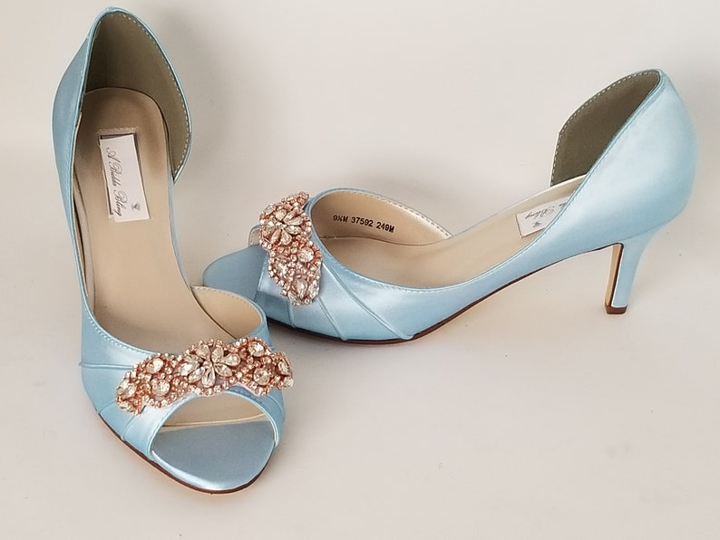 b2a15dbc70382 Blue Wedding Shoes with Rose Gold Design Blue Wedding Shoes with Rose Gold  Applique Design -100 Additional Colors To Pick From