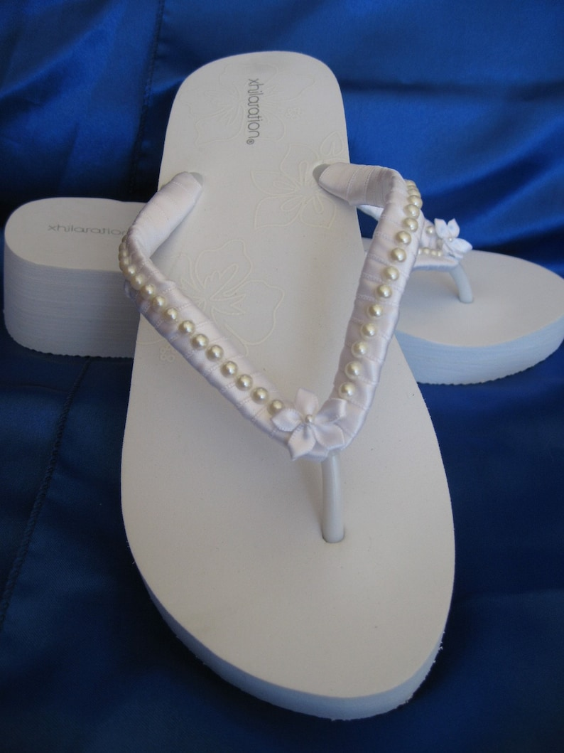 0ece909f992a SALE Bridal White Wedge Flip Flops or Ivory Flip Flops with