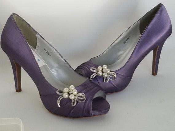 grande sconto per uomo eccezionale gamma di stili Scarpe da Sposa Lilla 100 colori disponibili damigella d'onore Lilla scarpe  fiocco di cristallo perla viola scarpe sposa scarpe da sposa in Lilla
