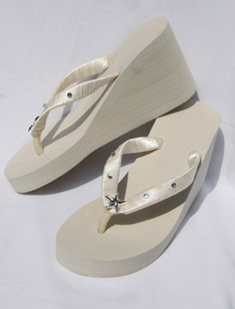 a52ba7fe134fc SALE Bridal Ivory Wedge Flip Flops or White Flip Flops with