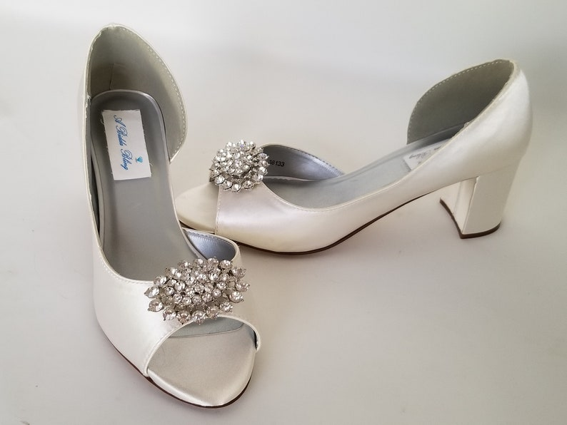 896db0eb579 Ivory Wedding Shoes Block Heel Sparkling Crystal Oval Design