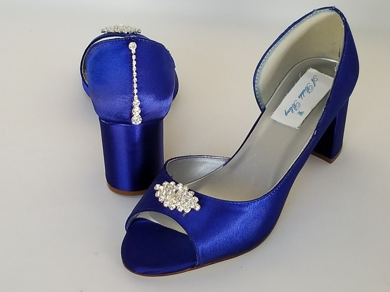 01a39d6d44b Royal Blue Wedding Shoes Block Heel Crystal Design and
