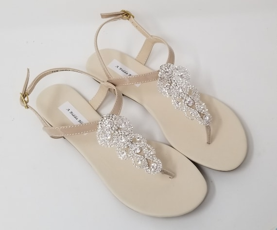 Ivory Wedding Sandals Nude Bridal Sandals Ivory Bridal Sandals with Crystals Beach Wedding Sandals Beach Wedding Shoes Vegan Sandals