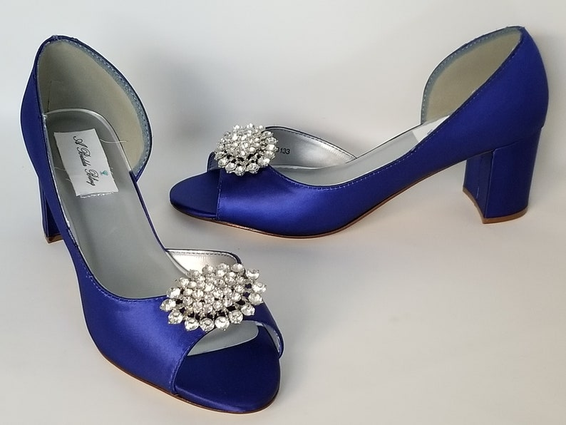 857ed234534 Royal Blue Wedding Shoes Block Heel Sparkling Crystal Oval