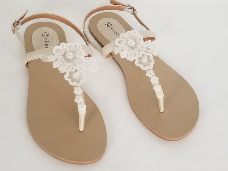 520a55ad5c204 Ivory Bridal Sandals with Lace and Pearls Destination Wedding