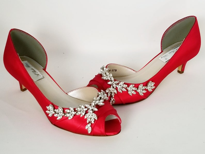 44ef1dfd722 Red Wedding Shoes Crystal Vine Design Red Bridal Shoes Red Bridesmaid Shoes  PICK FROM 100 COLORS