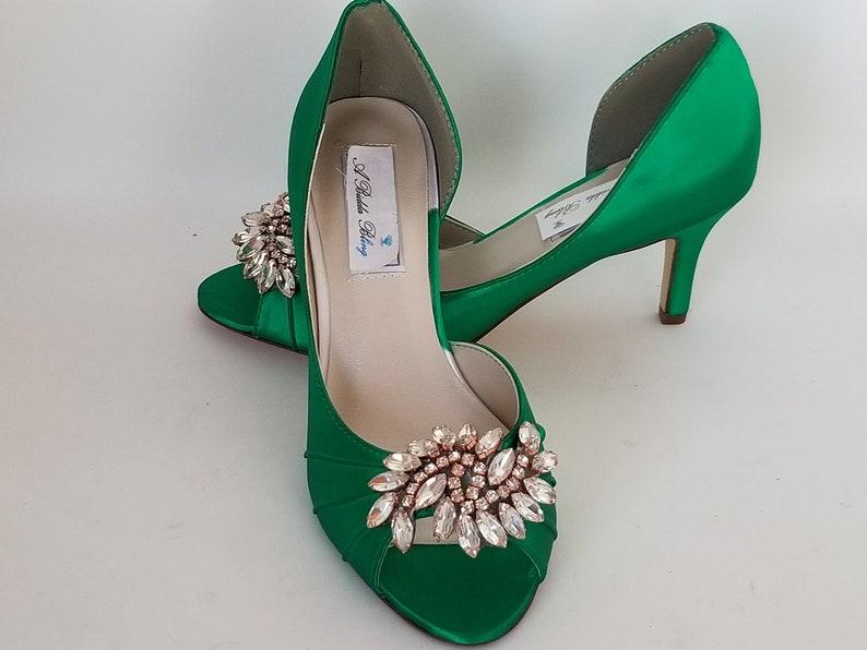 d4425cff69bb5 Emerald Green Bridal Shoes Rose Gold Design Emerald Green