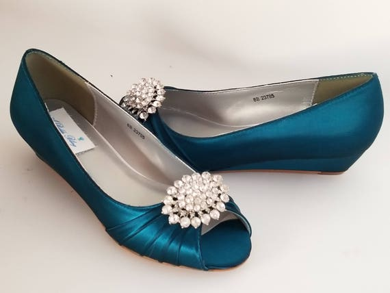 be7add1a7a1 Teal Wedding Shoes with Crystal Oval Teal Bridal Shoes Teal